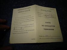 Carte de Circulation Temporaire Mai 1940 En Transports Public Dép Haute Savoie