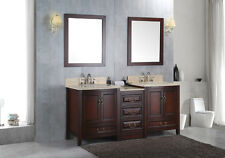 "NEW Double 72"" Marble Bathroom Sink Vanity Solid Wood Cabinet Lavatory Furniture"