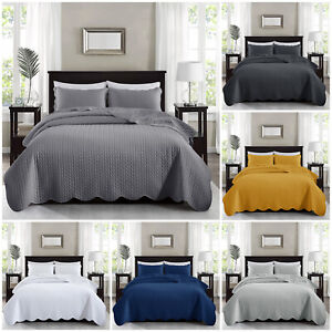 3 Piece Embossed Quilted Bedspread Comforter Throw With Pillow Shams Double King
