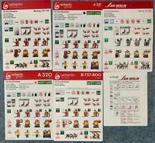 Air Berlin Group Safety Card Set 6 Karten / Stück Airbus und Boeing Top Selten