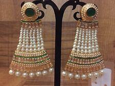 New Indian Ethnic Gold Plated Pearl Moti Green Color Jhumki Bali Jhumka Earring