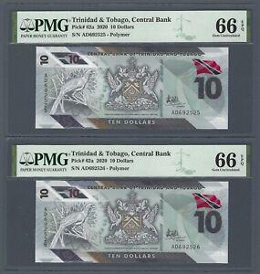 TRINIDAD & TOBAGO 10 Dollars 2020, P-62a Polymer, PMG 66 EPQ GEM UNC, 2x Consec.