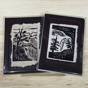 Art Gift MAT or FRAME 5x7 SET Original Woodcut Spruce Cave Grand Canyon Overlook