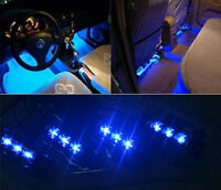 4 x 3LED Car Charge 12V Glow Interior Decorative 4in1 Atmosphere Light Lamp Blue