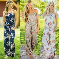 Women Strappy Sleeveless Playsuit Bodycon Casual Floral Print Trousers Jumpsuit