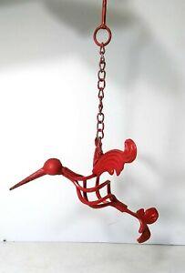 Hummingbird Wrought Iron Metal Hanging Red