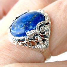 R076  Bague Style Vintage Argent Massif 925  Lapis Lazuli  t56