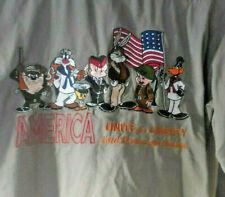 Looney Tunes Military Shirt America Liberty Flag Army Navy Air Force Vtg Uniform
