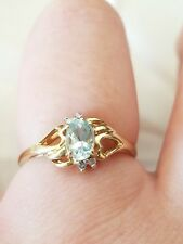 Vintage Solid 10K Yellow Gold Size 7 Diamond Engagement Ring, Jewelry
