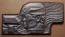 Russian Soviet USSR author's bas-relief Metal soldier worker hammer sculpture
