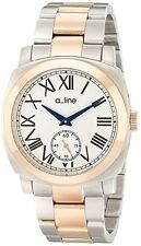 a_line Men's AL-80016-RG-SS-22 Pyar Silver Textured Dial Two Tone Stainless Stee