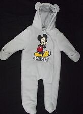 Disney Baby Mickey Mouse Footed One-Piece Sleeper Hooded Ears 6/9 Mo Embroidered