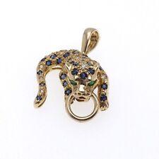 14K Gold Sapphire Emerald Eyes Diamond Leopard Mouth Ring Enhancer Slide Pendant
