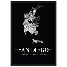 JUNIWORDS Stadtposter, San Diego, Schwarz, Kunstdruck Plan Map