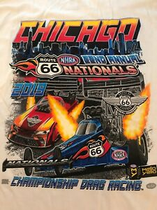 LOT OF 2 NHRA DRAG RACING 2019 ROUTE 66 NATIONALS WHITE T- SHIRTS  SIZE XL