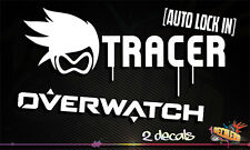 Tracer Auto Lock In + Overwatch Logo Decals Vinyls eSports Decal White