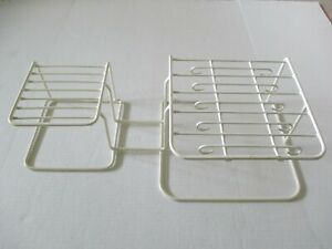 VINTAGE RUBBERMAID COATED WIRE DIVIDED LARGE DISH ORGANIZER 10 CUP HOOKS WHITE