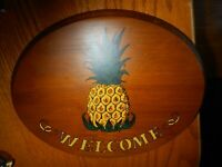 Wooden WELCOME Sign w/ Pineapple ~ Welcome to My Home Sign