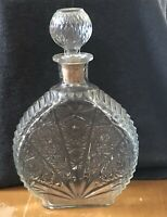 VINTAGE CLEAR GLASS DECANTER DAISY BUTTON FAN PANEL SIDES WITH STOPPER