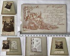 9 x Antique Double Sided Gilt Victorian Cabinet Photo Album Pages 18 Photographs