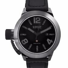 Mens U-Boat 7337 Classico Swiss Automatic Black Dial Black Leather Ceramic Watch