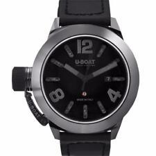 Mens U-Boat 7337 Classico Swiss Automatic Black Dial Black Leather Ceramic Watch