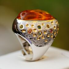 Luxury Retro Style Natural Citrine W/Zircon S925 silver open size ring AS43
