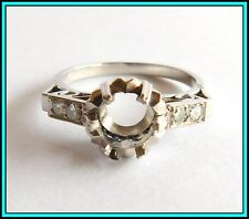 Vintage PLATINUM Engagement Wedding MOUNTING RING for a 1.20 to 1.50 CT Diamond