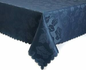 NAVY DARK BLUE Damask TABLECLOTHS & NAPKINS Ivy Leaf TRADITIONAL Christmas Party