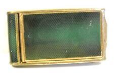 Antique Green Enamel on Brass Manicure  Compact Clutch