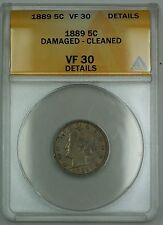 1889 Liberty V Nickel Coin 5c ANACS VF-30 Details Damaged Cleaned