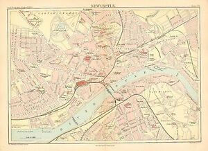 1892 VICTORIAN TOWN PLAN MAP ~ NEWCASTLE ~ CENTRAL STATION MARKET LEAD WORKS