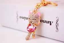 Lucky Cat Keychain Crystal Rhinestone Handbag Charm Metal Key Chains Key Rings
