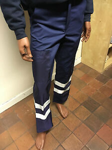 Navy Ballistic Side Protection Work Trousers with Reflective Stripes