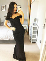 Black Silver Glitter Bardot Dress Ball Gown Long Fishtail Maxi