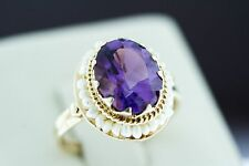 14K Yellow Gold Ring - Natural Purple Amethyst Cocktail Ring With Pearl, Size 6