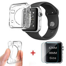 Apple Watch Series 3 38mm Tempered Glass Screen Protector + Soft TPU Case Cover