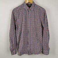 ~ Ted Baker ~ Men's Long Sleeve Shirt Red Blue White Check ~ Size 2 ~ Small 36 ~