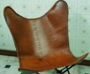 Rustic Handmade Vintage Tan Leather Butterfly Chair Home Decor Only Cover