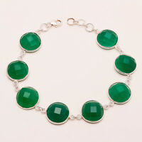 Natural Green Onyx Gemstone 925 Sterling Silver Bezel Bracelet Fine Jewelry Gift
