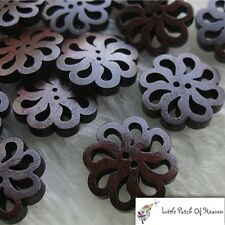 Pack of 5 Natural Wooden Buttons Flower Shape 20mm Sewing/DIY Craft/Scrapbooking