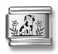 Laser Italian Charms Puppy Dog Fit 9 mm Stainless Steel Link Bracelets Flower