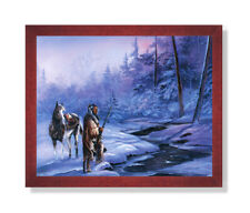 Indian Shadow Of Forest Horse Snow Wall Picture Cherry Framed Art Print