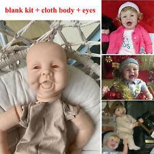 Unpainted 22'' Reborn Baby Doll Kits Soft Vinyl Head & 3/4 Limbs Cloth Body Eyes