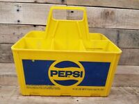HARD TO FIND LARGE SIZE 32 OZ PEPSI COLA SODA POP BOTTLE 6 PACK YELLOW CARRIER