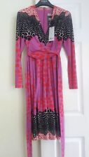 ISSA London Tie Wrap Dress. Black Red & Pink Multi. S 8uk 36eur. New