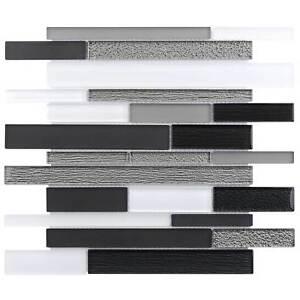 Modern Linear Black Grey White Glossy Matte Glass Backsplash Tile Wall MTO0013
