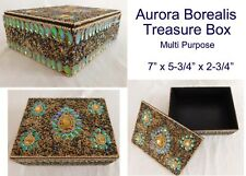 Aurora Borealis Handcrafted Beaded Treasure Box