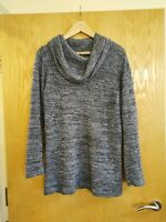 Size 10 Blue Flecked Roll Neck Long Jumper Pullover Top Knit Warm