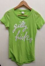 Women's Gilly Hicks scoop neck short sleeve Lime Green Sequin logo shirt Size XS